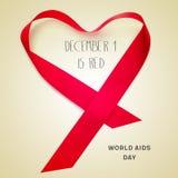 Text am 1. Dezember ist, Welt-Aids-Tag rot Lizenzfreie Stockfotos