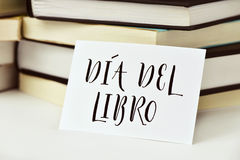 Text dia del libro, book day in spanish Royalty Free Stock Photos