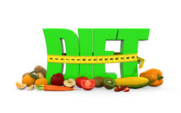 Text Diet with Fruits and Vegetables Royalty Free Stock Image