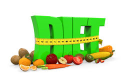 Text Diet with Fruits and Vegetables. On white background. 3D render Royalty Free Stock Images