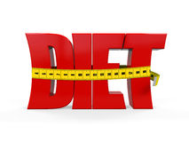 Text Diet with Measurement Tape. On white background. 3D render Royalty Free Stock Images