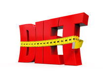 Text Diet with Measurement Tape. On white background. 3D render Stock Images
