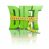 Text Diet and measuring tape. On white background. 3d Stock Photos