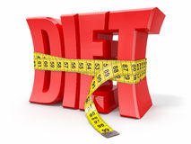 Text Diet and measuring tape. On white background. 3d Royalty Free Stock Image