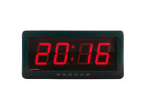 red led light illumination numbers 2016 on digital electronic alarm clock face isolated on white background Royalty Free Stock Photos