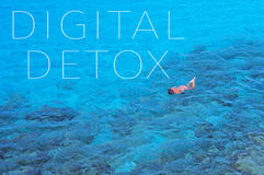 Text digital detox in a sea landscape Royalty Free Stock Images