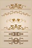 Text dividers. Set of vintage text dividers in brown Stock Image