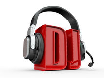 Text DJ and handphones. 3d Stock Images