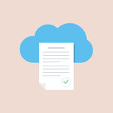Text document in the cloud storage icon. Cloud service. Flat illustration isolated on color background. Stock Image