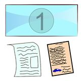 Set of labels and documents stock illustration