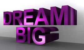 """Dream big. Text """"dream big"""" in large bold purple 3D letters on background of two shades of gray Stock Images"""