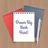 Text: dream big work hard Royalty Free Stock Image