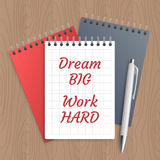 Text: dream big work hard Royalty Free Stock Photo