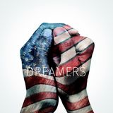 Text dreamers and American flag. Closeup of the hands of a man put together patterned as the flag of the United States and the text dreamers, for the Stock Photography