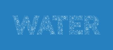 Text from droplets texture. Word Water. Vector realistic water drops condensed on blue background. Rain droplets without shadows for transparent surface. Pure Royalty Free Stock Photos