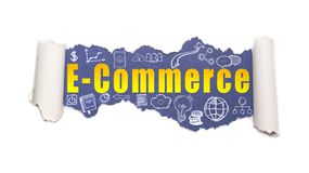 The text E-commerce behind torn white paper. The text E-commerce with business and web icons behind torn white paper royalty free stock images