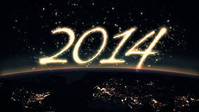 2014 text with Earth. Colorful new year 2014 text with planet earth stock illustration