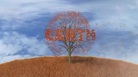 Text earth the tree falling leaves. Footage of text earth the tree falling leaves stock footage