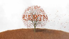 Text earth the tree falling leaves. Footage of text earth the tree falling leaves stock video footage