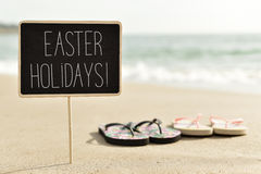Text easter holidays on the beach Stock Photography