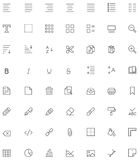 Text editing icon set. Set of the document editing related glyphs Royalty Free Stock Photography