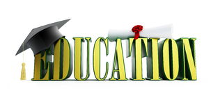 Text education and graduation cap Stock Photo