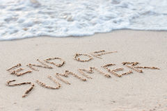 Text end of summer on beach Royalty Free Stock Photography
