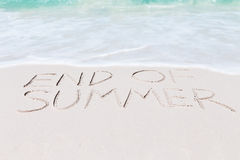 Text end of summer on beach Royalty Free Stock Photo