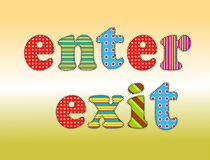 Text enter. Colorful letters with the name of input output stitched with thread on a path royalty free illustration