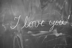Text escrito em um quadro-negro com giz branco Imagem de Stock