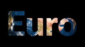 Text Euro revealing turning Earth globe. 4K stock footage