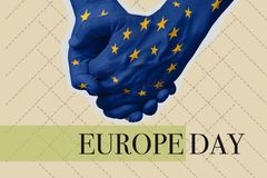 Text Europe day in a contemporary art collage royalty free stock photography