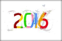 Text för år 2016 på vit bakgrund i multicolors Royaltyfria Foton
