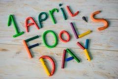 Text för April Fools `-dag som göras med plasticine Royaltyfria Bilder