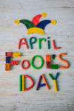Text för April Fools `-dag som göras med plasticine Arkivfoto