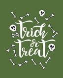 Text för begrepp för trick- eller festallhelgonaaftonferie med skallen och ben på bakgrund Kalligrafi som märker design Typografi stock illustrationer
