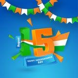 text för 3D 15 August Happy Independence Day på skinande blå backgro Royaltyfria Bilder