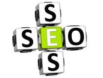text för 3D Seo Service Crossword Fotografering för Bildbyråer