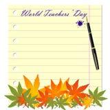 Text för dag för världslärare` på ett skolaskrivbokark stock illustrationer