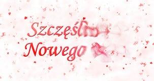 Text för det lyckliga nya året i polska Szczesliwego Nowego Roku vänder t Arkivfoto