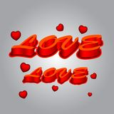 text för förälskelse 3d Fotografering för Bildbyråer