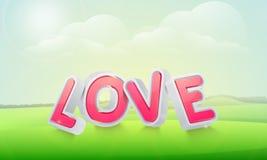 text för förälskelse 3D för lycklig valentin dagberöm Arkivfoton