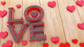 text för förälskelse 3D på en träbakgrund royaltyfri illustrationer