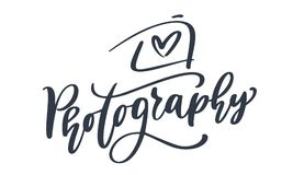 Text för fotografi för inskrift för mall för vektor för symbol för kamerafotografilogo som calligraphic isoleras på vit bakgrund Fotografering för Bildbyråer