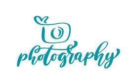 Text för fotografi för inskrift för mall för vektor för symbol för kamerafotografilogo som calligraphic isoleras på vit bakgrund Royaltyfri Bild