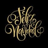Text för garnering för Feliz Navidad handbokstäver för mall för hälsningkortdesign Typografietikett för glad jul in royaltyfri illustrationer