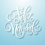 Text för garnering för Feliz Navidad handbokstäver för mall för hälsningkortdesign Typografietikett för glad jul in Arkivfoto