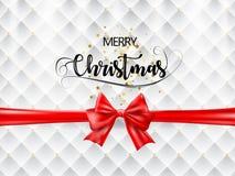 Text för glad jul med det röda bandet och guld- stjärnor på vit och guld- textur vektor Royaltyfria Bilder
