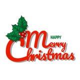 Text för glad jul med prydnadbladet Arkivbilder