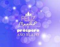 Text 'för glad jul och för lyckligt nytt år 'i spanskt på bokeh vektor illustrationer